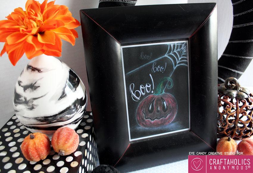 free pumpkin chalk art for halloween