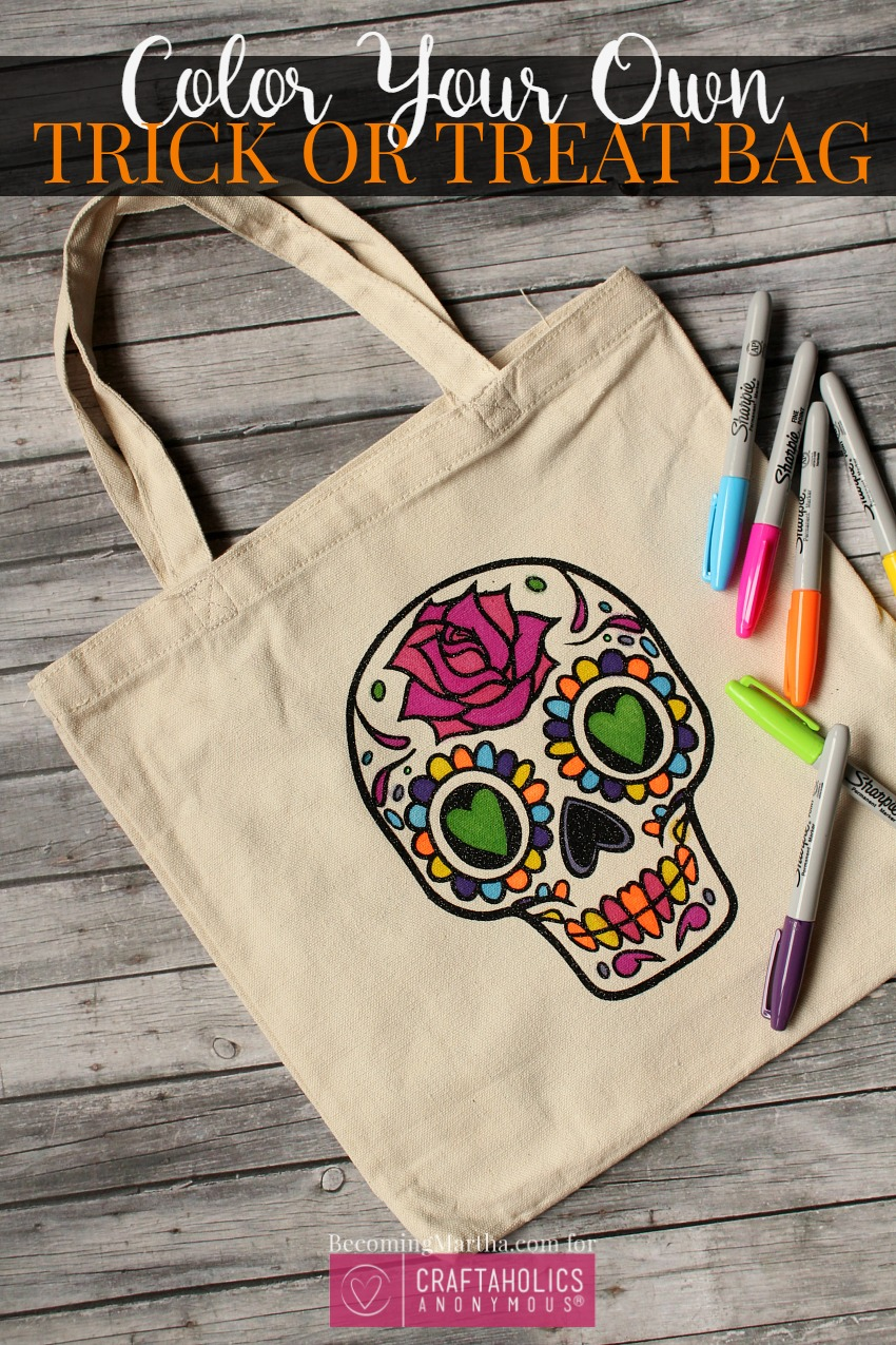 color your own trick or treat bag