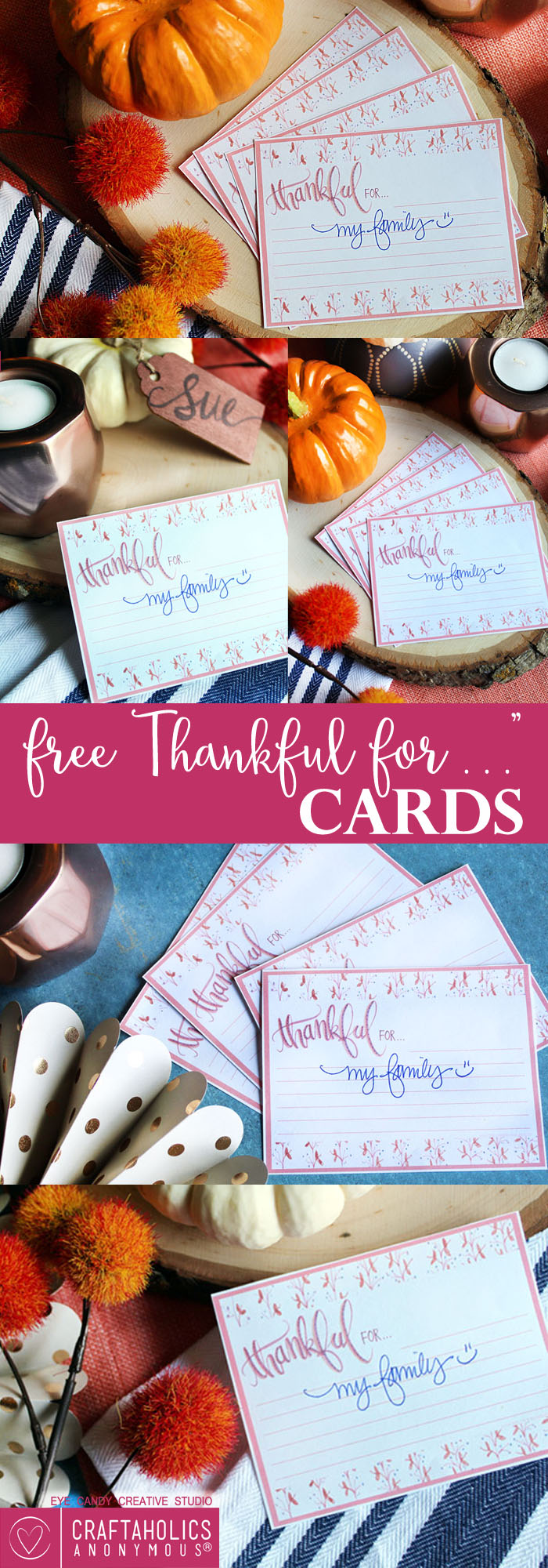Download these pretty Thankful For free Thanksgiving printable for your Thanksgiving table this year! craftaholicsanonymous.net