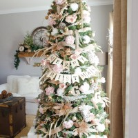Pink and Gold Floral Christmas Tree