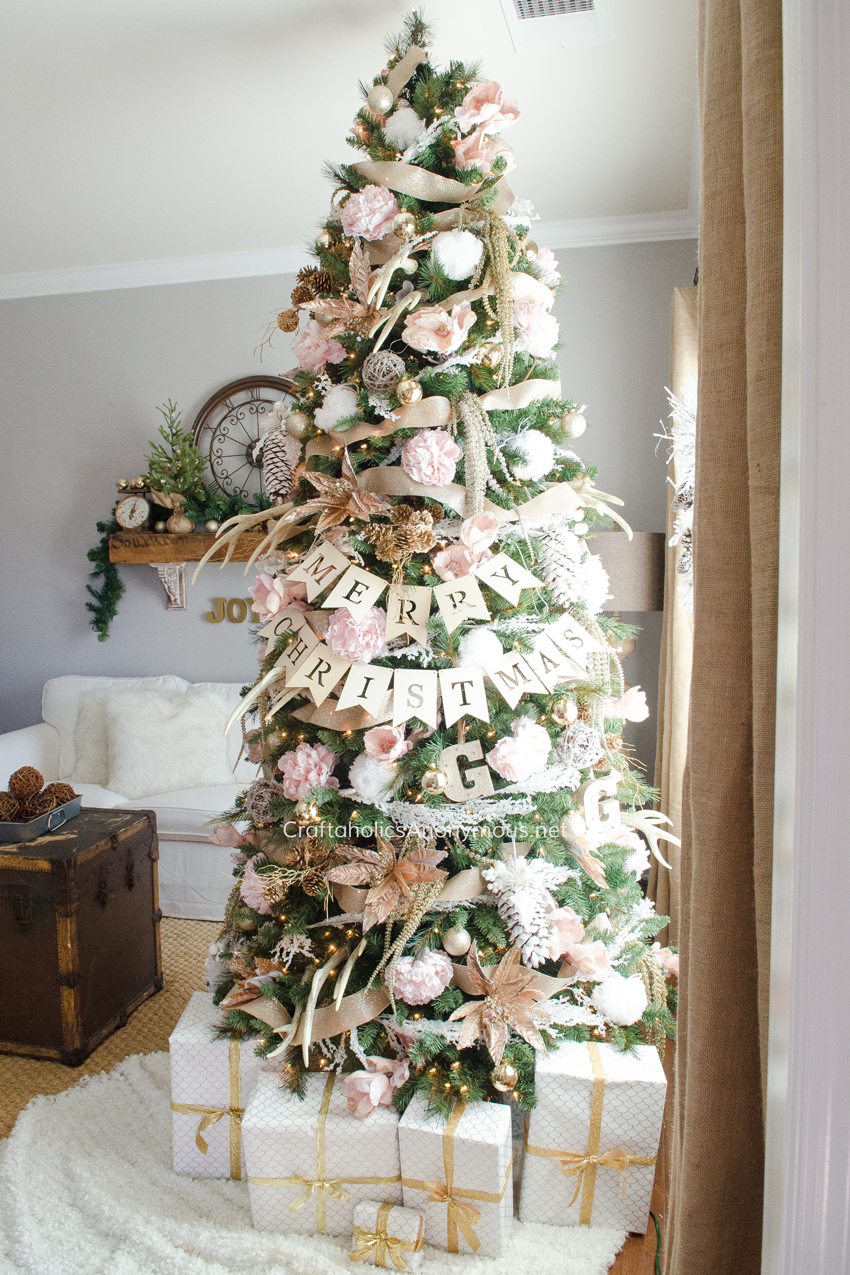 Craftaholics Anonymous® | Pink and Gold Floral Christmas Tree