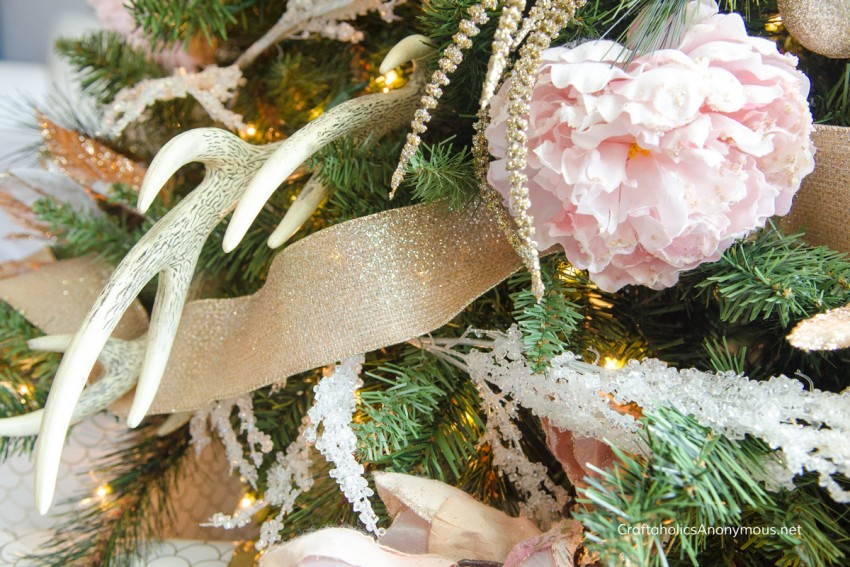 Rustic pink and floral Christmas tree