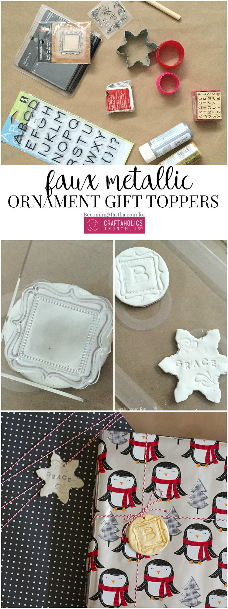 Personalize your Christms gift wrapping with these easy monogrammed ornament gift toppers!