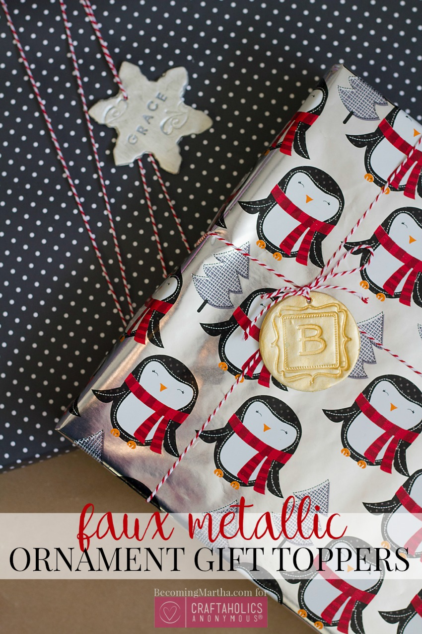 easy gift toppers faux metallic gift topper idea