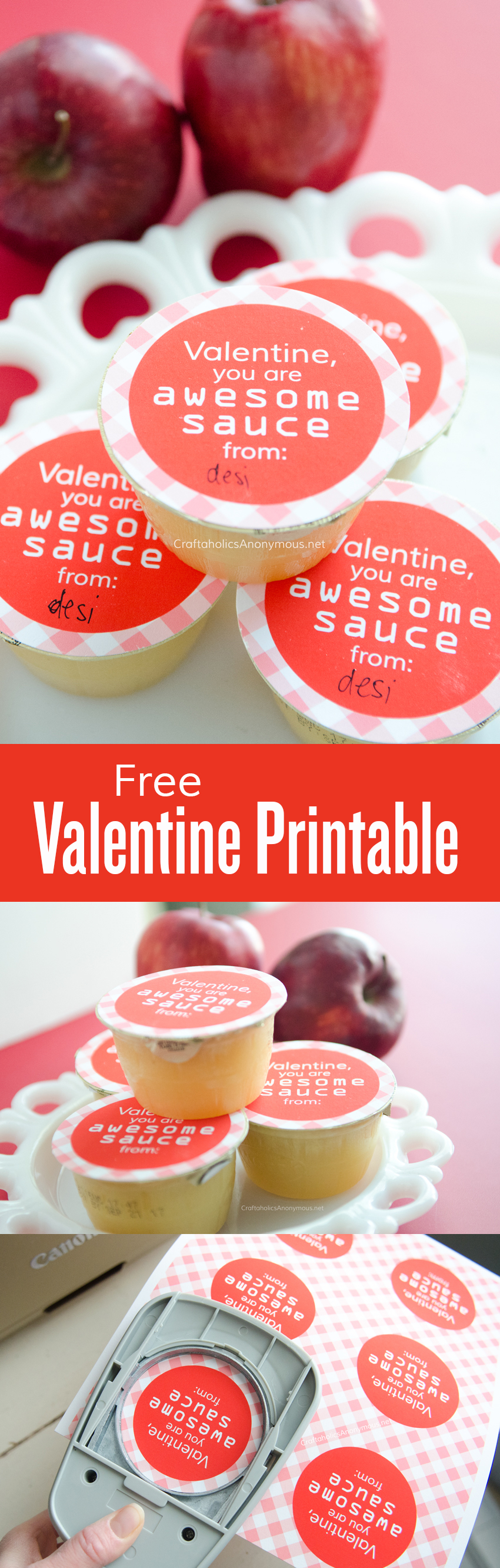 Free Healthy Valentine printable || Valentine you are AWESOMEsauce! || applesauce topper