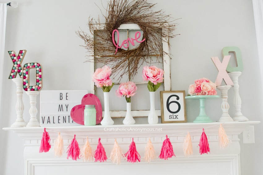 DIY Valentine Mantle decor CraftaholicsAnonymous.net