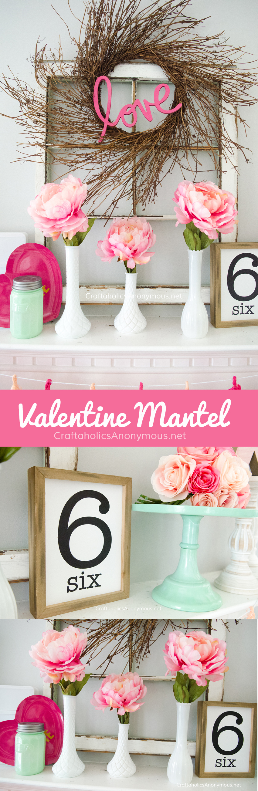 Valentine Mantel decor || love the pink peonies! @CraftaholicsAnonymous