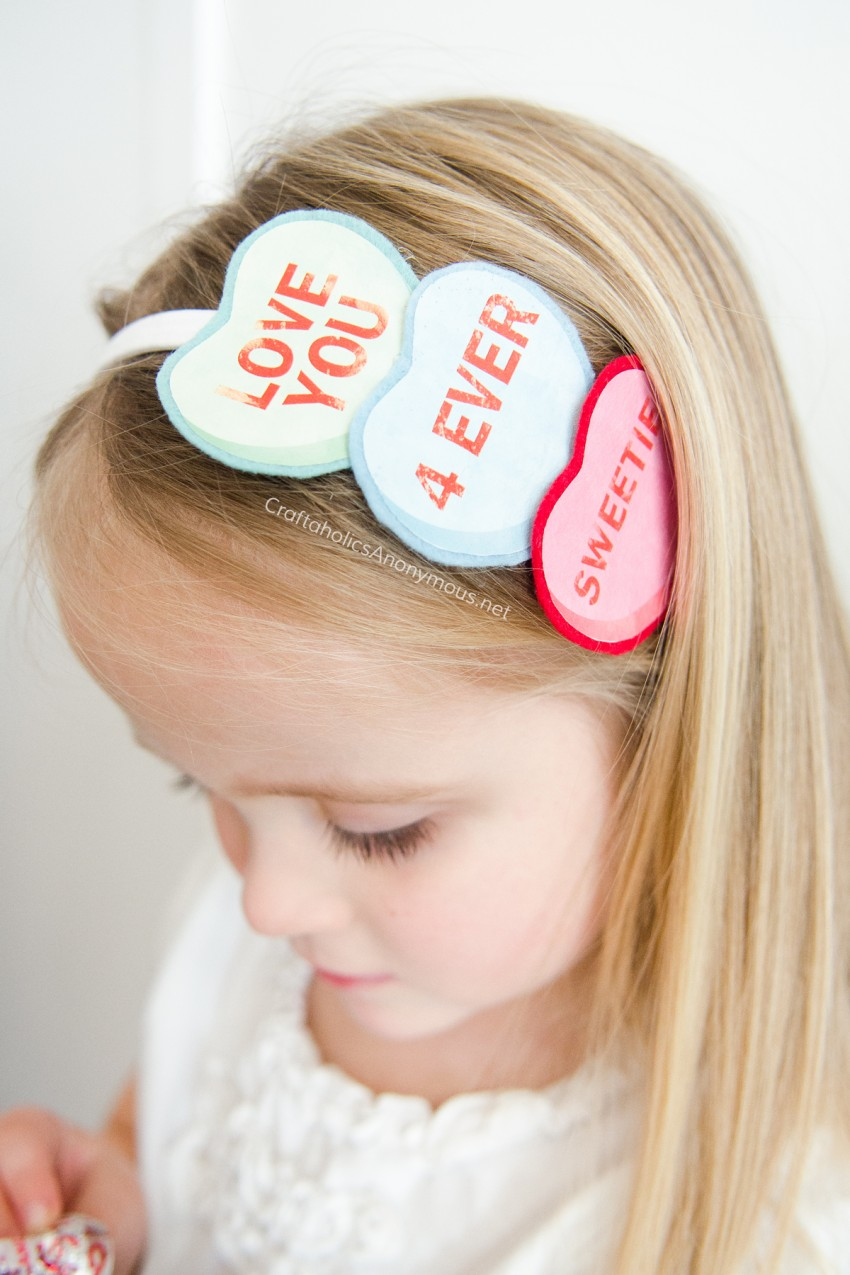 conversation heart headband tutorial || Valentine craft