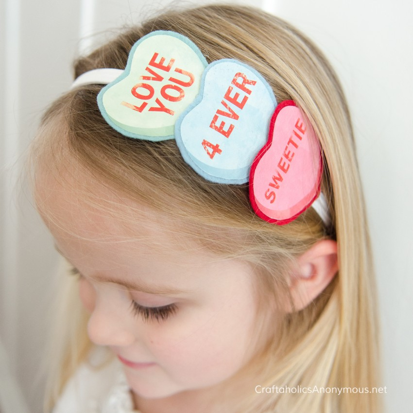 Conversation Heart Headband for Valentine's Day craft