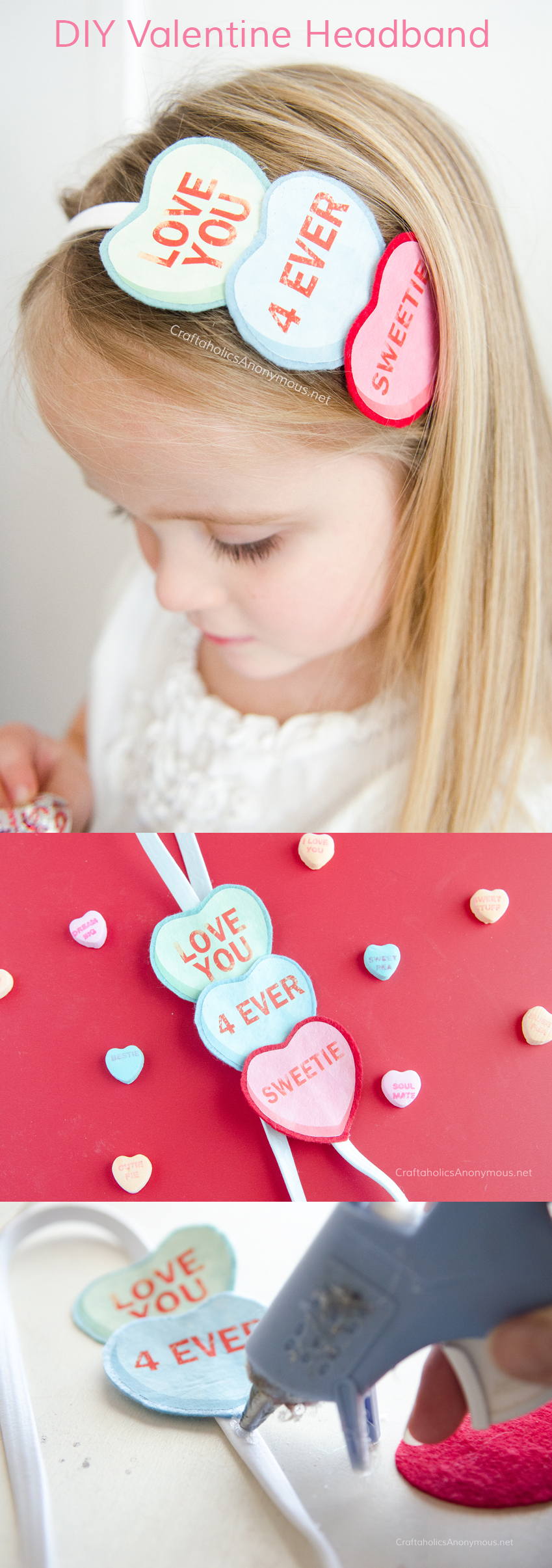 DIY Valentine's Day headband - Conversation Hearts headband tutorial