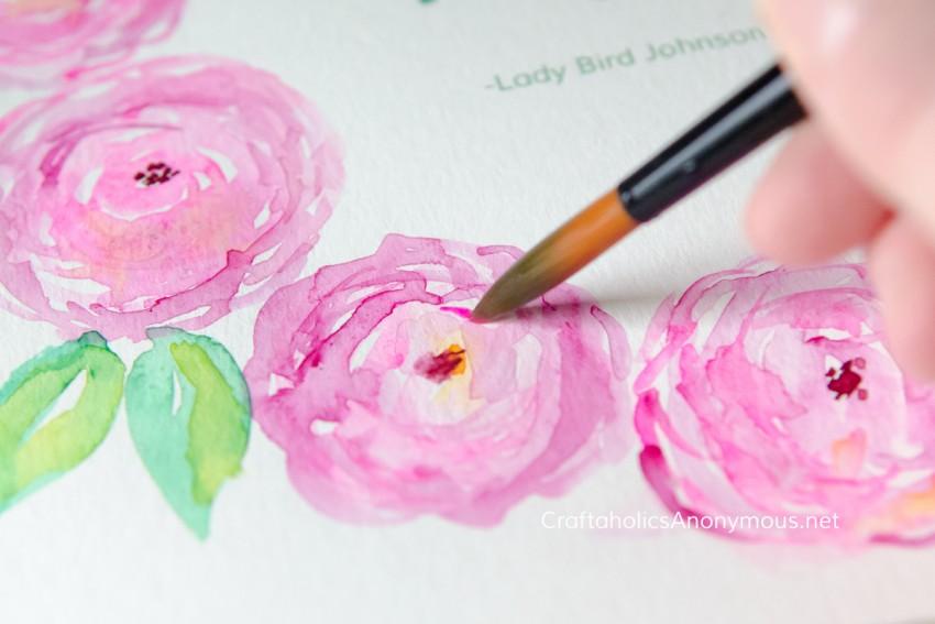 Pink Watercolor flowers :: peonies