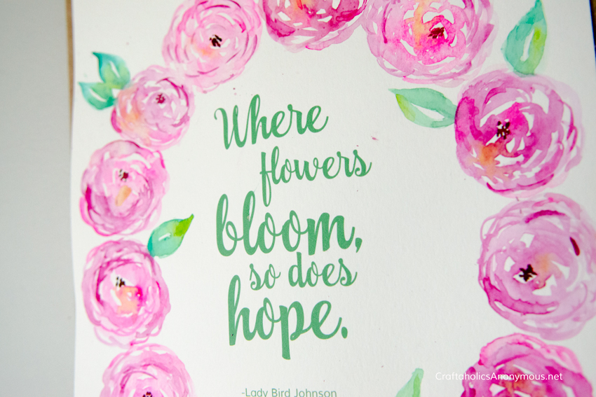 Spring quote printable :: Add your own watercolor flowers for DIY spring art home decor