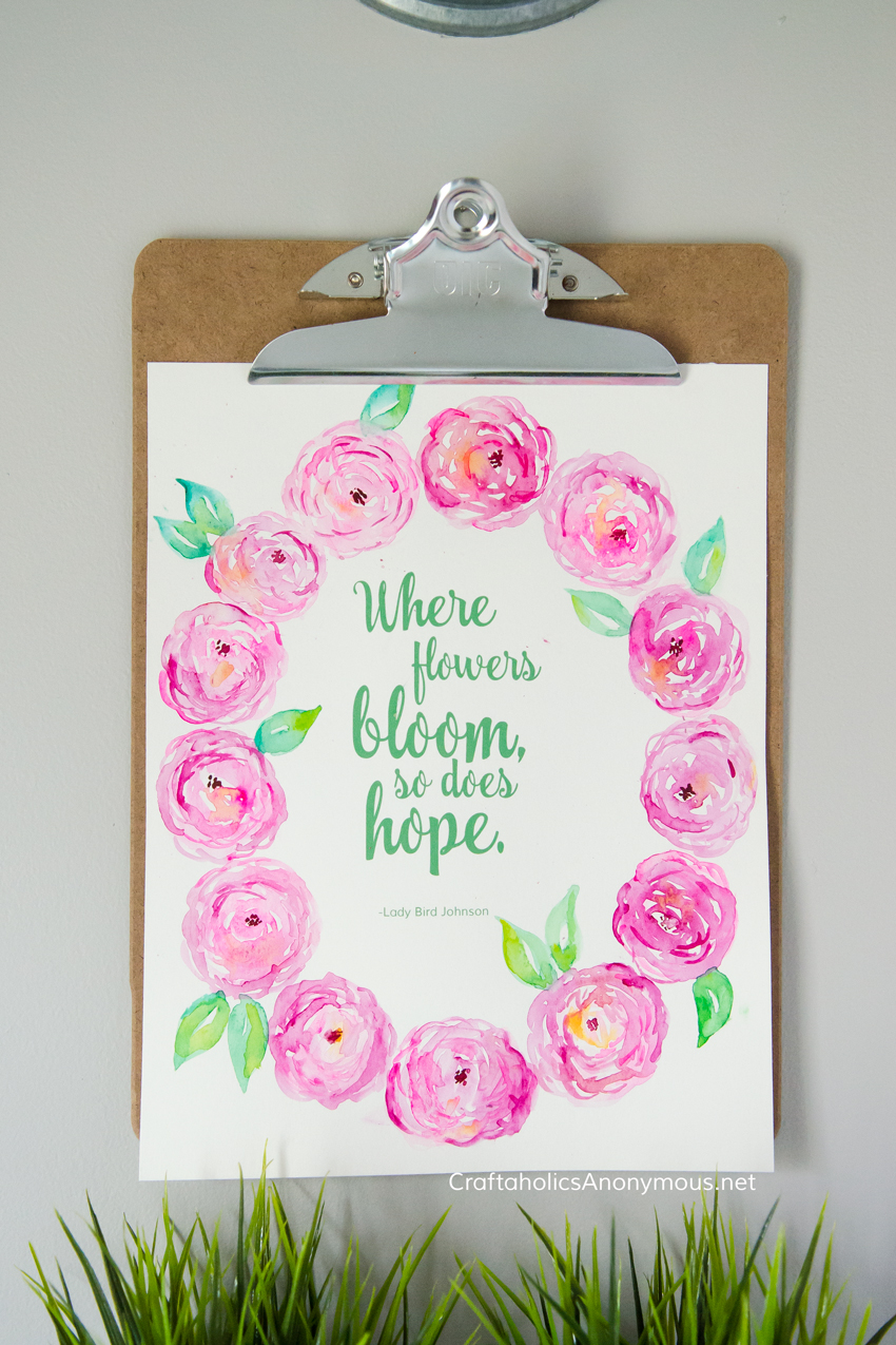 Pink Watercolor Peonies with Spring quote from Lady Bird Johnson + Free printable