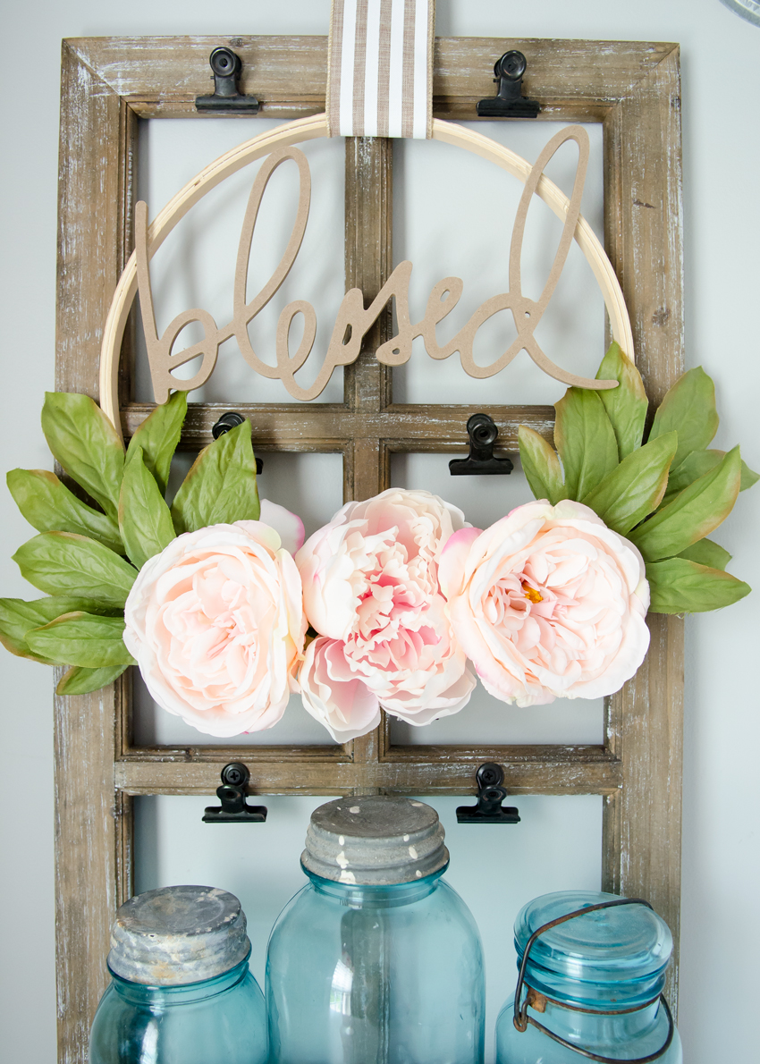 DIY floral wreath idea - modern Embroidery Hoop with peonies