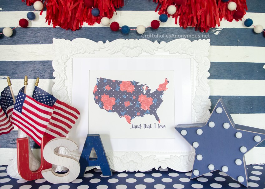 DIY 4th of July Decor and crafts - free printable