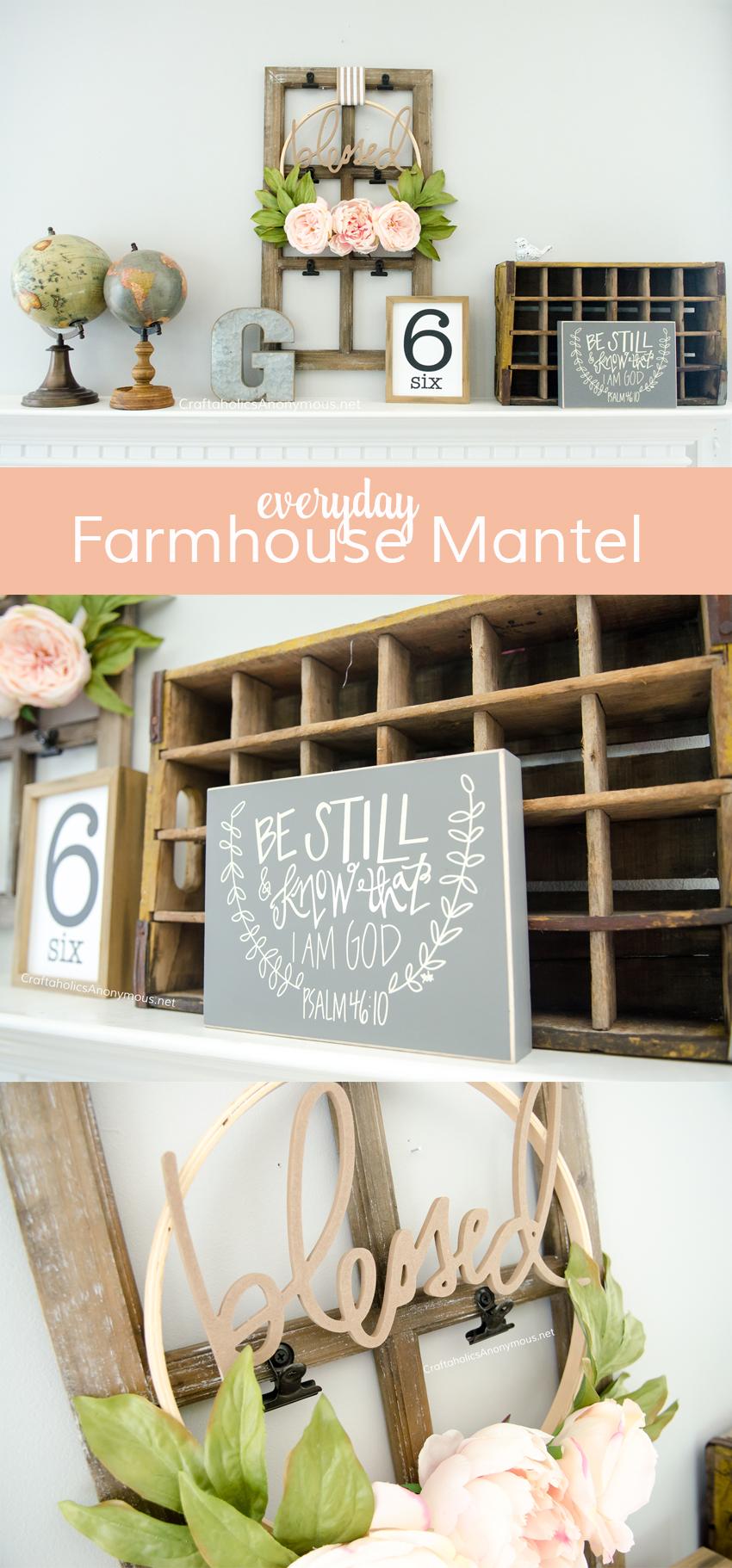 DIY Everyday Farmhouse mantel decor
