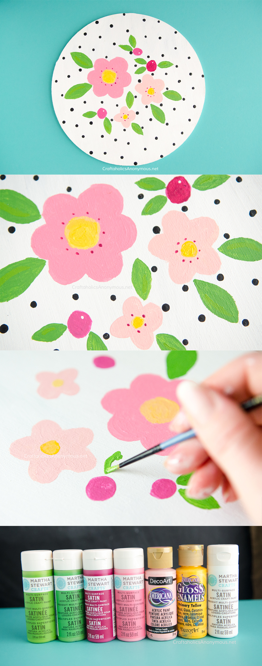 DIY Hand Painted Florals and polka Dots craft idea