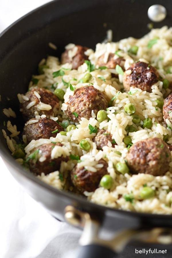 Meatball & Rice Skillet with Baby Peas