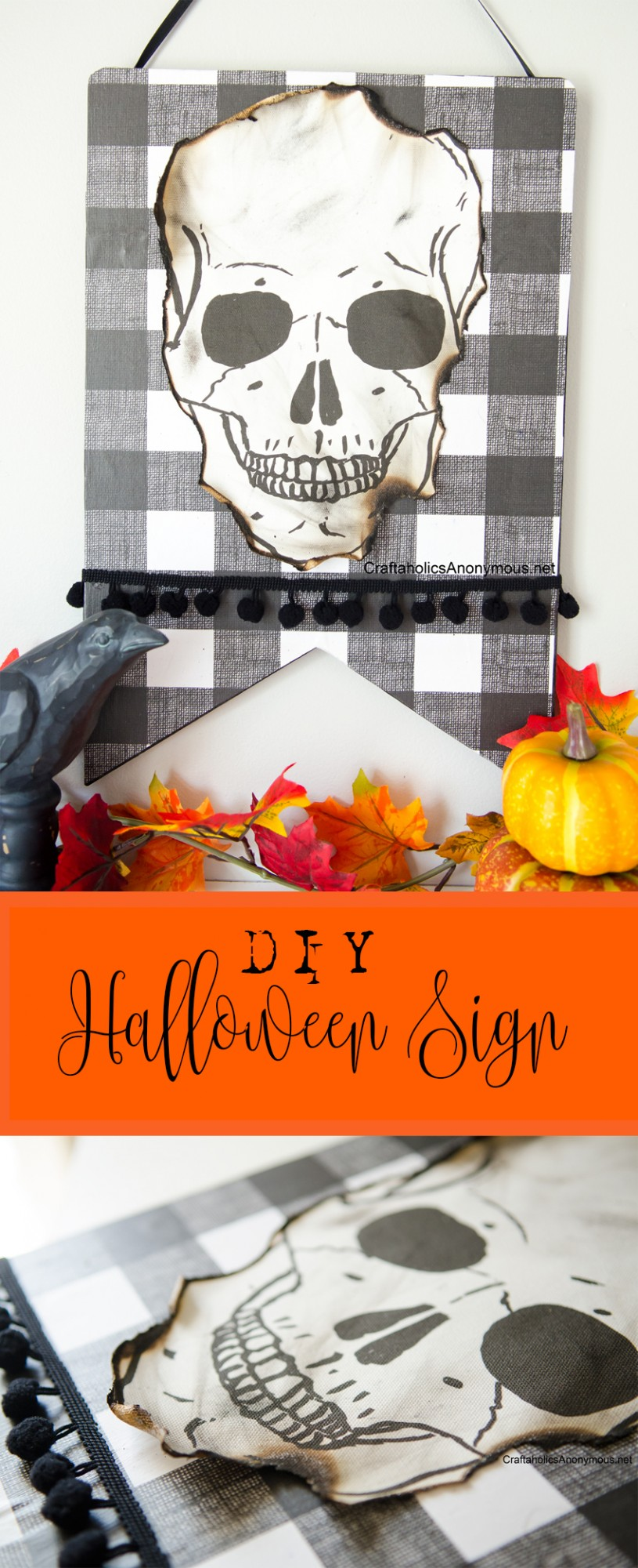 DIY Halloween Sign || Love the singed skull
