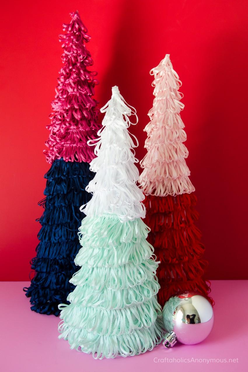Colorful Mini Christmas Trees craft idea