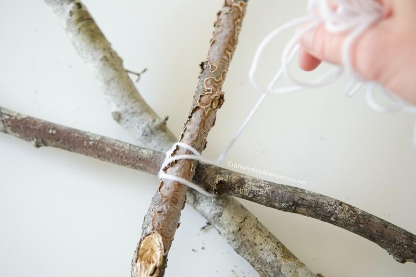 DIY stick spider web tutorial