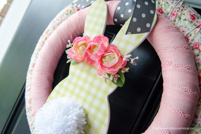 Floral Crown bunny wreath for spring Easter DIY