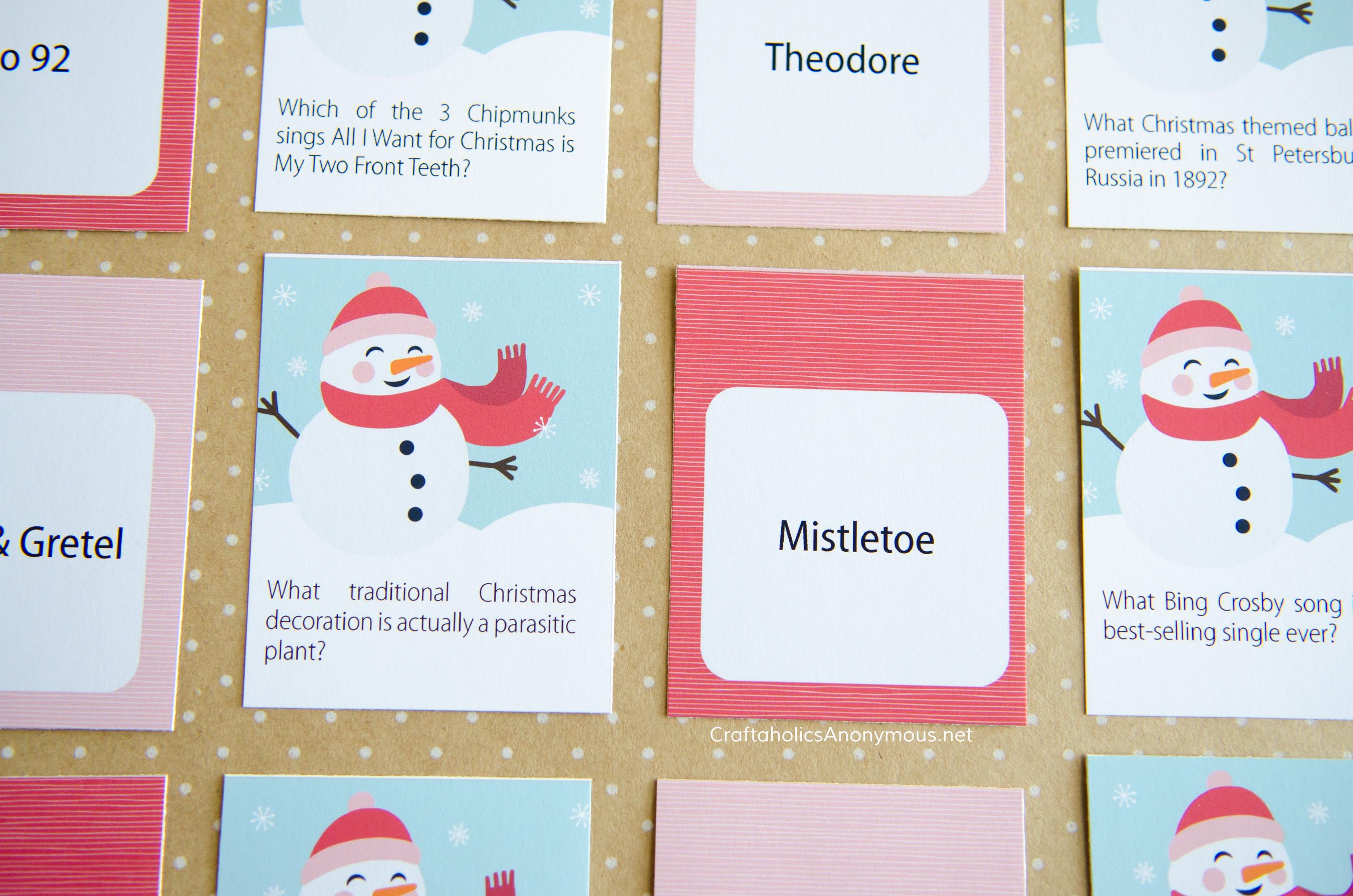 Craftaholics Anonymous Christmas Trivia Game Printables