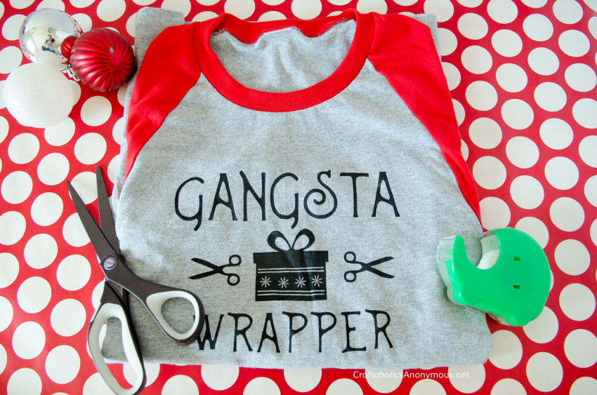 Gangsta Wrapper DIY Christmas t-shirt tutorial